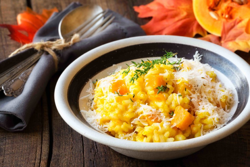 Butternut squash risotto with thyme and parmesaz cheese