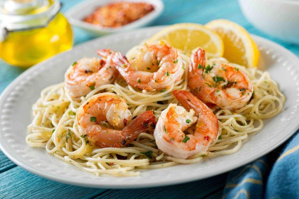 Spaghetti gambas e lime